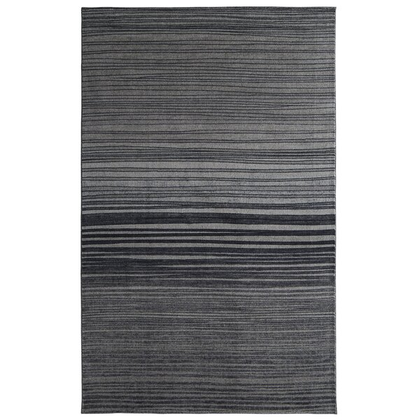Clement Horizon Line Charcoal/Smoky Gray Area Rug by Bungalow Rose