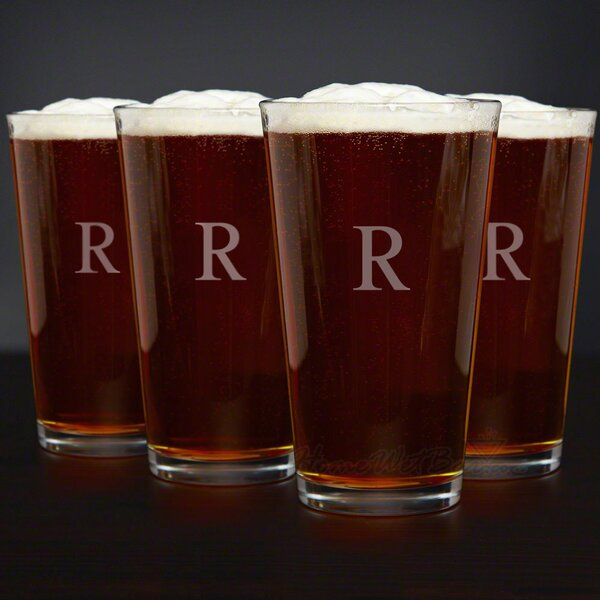 Personalized American 16 oz. Beer Glass (Set of 4) by Home Wet Bar