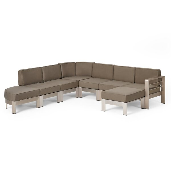 Jessica Patio Sectional Set with Cushions by Orren Ellis