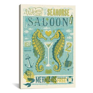 'Seahorse Saloon' Vintage Advertisment on Canvas by East Urban Home