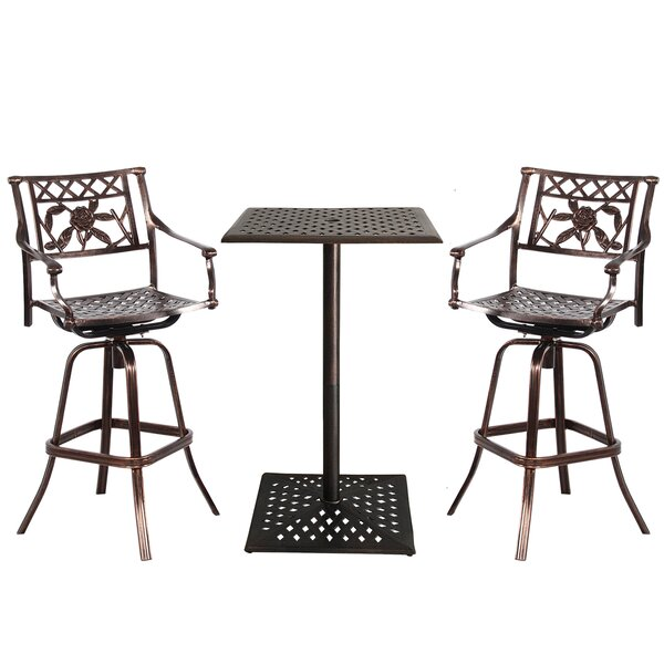 Thornton Rose Cast Aluminum 3 Piece Bar Height Dining Set by Fleur De Lis Living