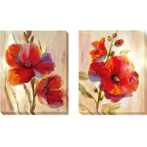 'Fluorescent Blooms' by Nan 2 Piece Painting Print on Wrapped Canvas Set by Artistic Home Gallery