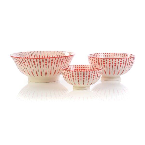 Giovani 3 Piece Circle Striped Dining Bowl Set by Mistana