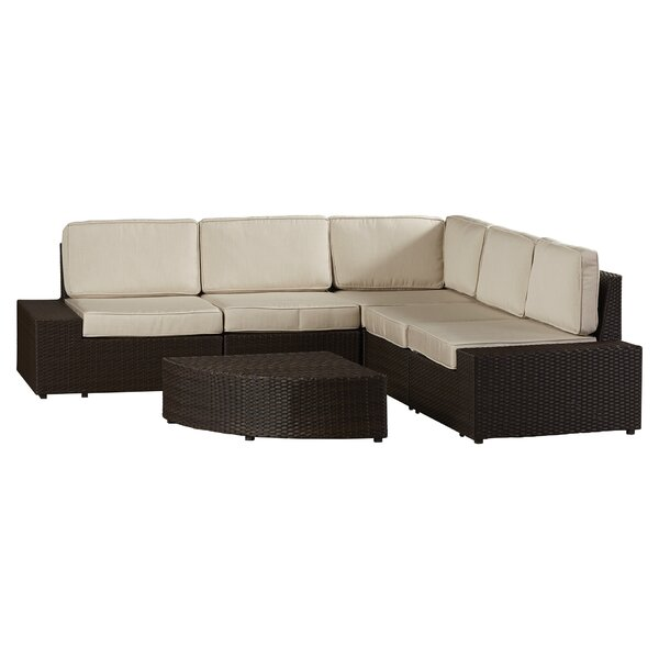 Thornton 6 Piece Rattan Sunbrella Sectional Seating Group with Cushions by Rosecliff Heights