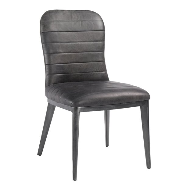 Jaclyn Genuine Leather Upholstered Dining Chair (Set of 2) by 17 Stories 17 Stories