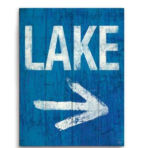 'Lake This Way' Wood Textual Art Sign by Breakwater Bay