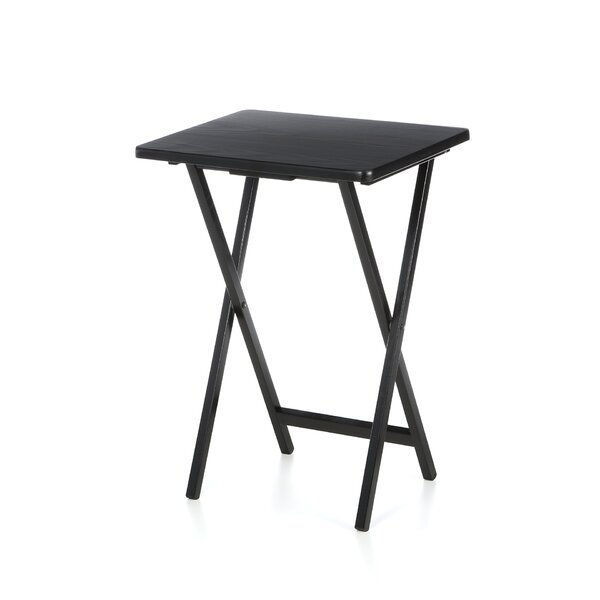 Ledbury Folding TV Tray Table with Stand (Set of 4) by Millwood Pines
