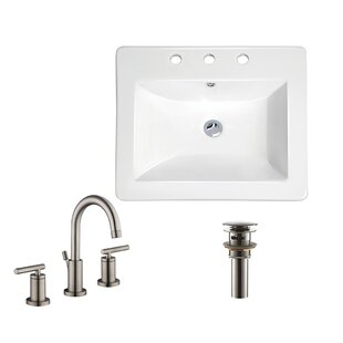 Inexpensive Rectangular Drop-In Bathroom Sink with Faucet By Soleil