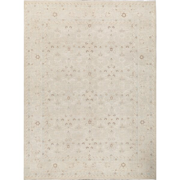 One-of-a-Kind Hand-Knotted Beige 10'2 x 13'7 Wool Area Rug