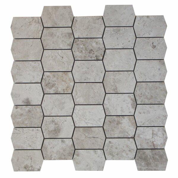Picket Marble Mosaic Tile in Silver Shadow by Ephesus Stones