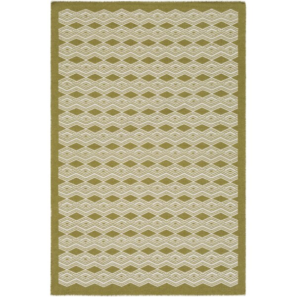Jeannie Hand-Woven Lime/Cream Area Rug by Ebern Designs