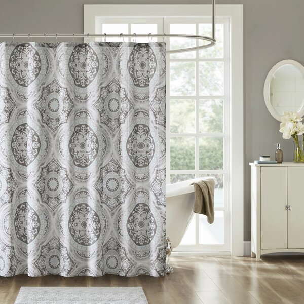 Jacob Printed Cotton Shower Curtain by Bungalow Rose