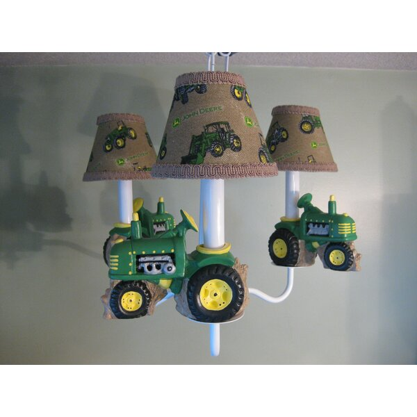 Farm Tractors 4-Light Shaded Classic / Traditional Chandelier by Silly Bear Lighting Silly Bear Lighting