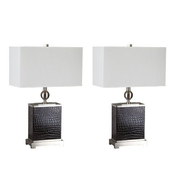 Textured Faux Crocodile Base 27 Table Lamp (Set of 2) by Sintechno