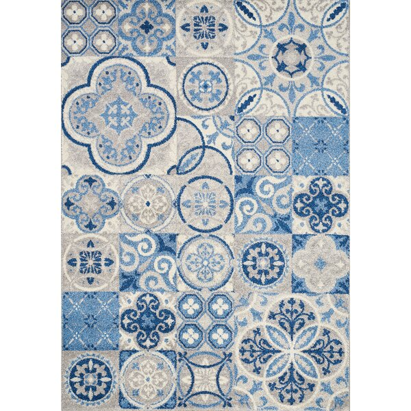 Lyonsdale Blue Quilted Design Blue/Cream Area Rug by Red Barrel Studio