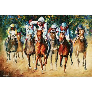 Horse Race Wall Art on Wrapped Canvas by Red Barrel Studio