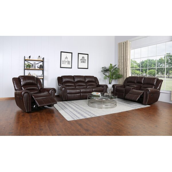 Shelbina 3 Piece Leather Reclining Configurable Living Room Set by Red Barrel Studio Red Barrel Studio