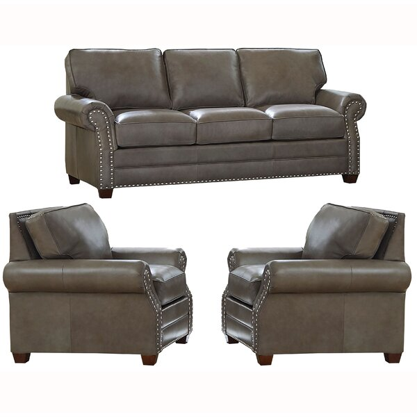 Pedigo 3 Piece Leather Living Room Set by Canora Grey