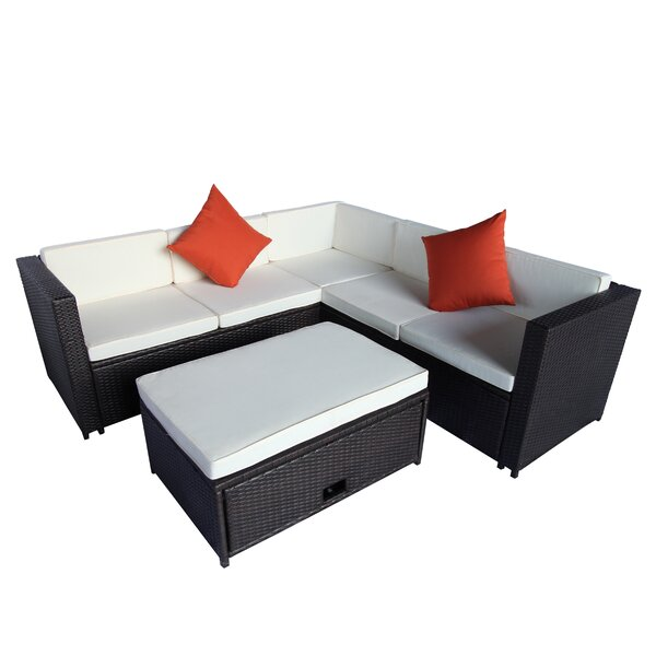 Karine 4 Piece Rattan Sectional Seating Group with Cushions by Ebern Designs