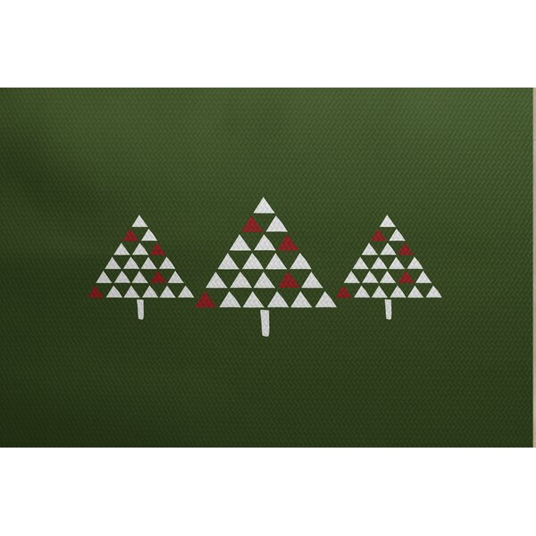 Christmass Trees Green Indoor/Outdoor Area Rug by The Holiday Aisle