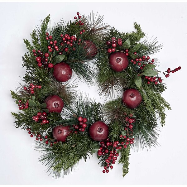 Pomegranate and Berry 21 Styrofoam Wreath by August Grove