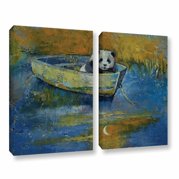 Panda Sailor by Michael Creese 2 Piece Painting Print on Gallery Wrapped Canvas Set by ArtWall