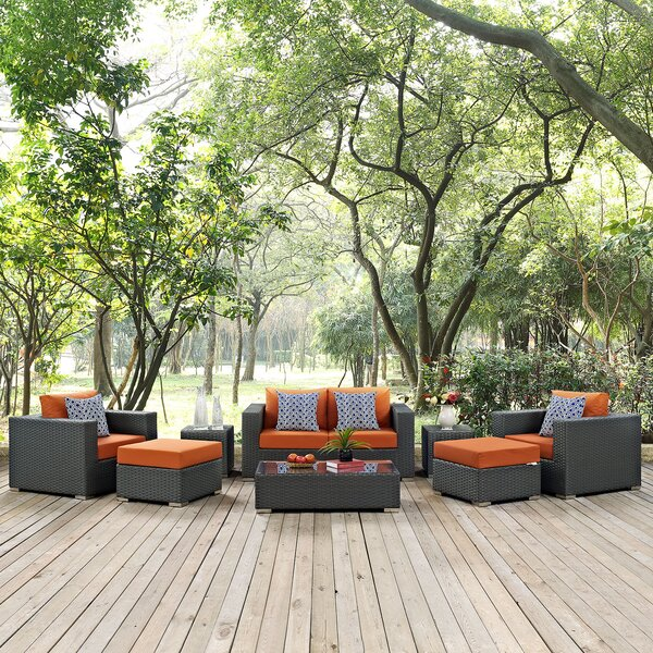 Tripp 8 Piece Rattan Sunbrella Sofa Seating Group with Cushions by Brayden Studio