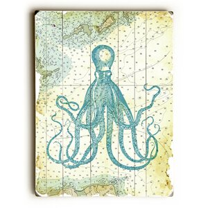 Octopus Nautical Map Graphic Art by Beachcrest Home