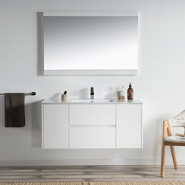 Oquendo 48 Wall-Mounted Single Bathroom Vanity Set with Mirror by Orren Ellis