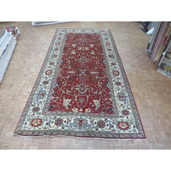 One-of-a-Kind Padro Heriz Hand-Knotted Wool Brick Red Area Rug by Bloomsbury Market