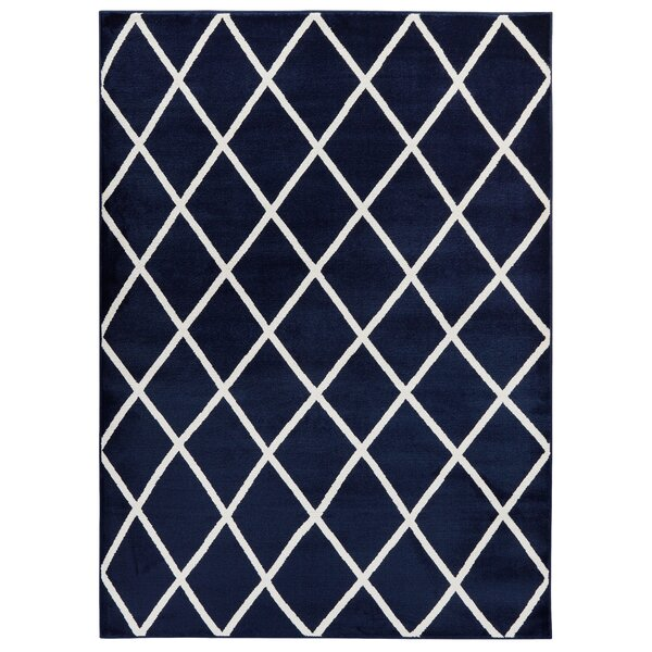 Kester Moroccan Trellis Navy/Ivory Area Rug by Wrought Studio