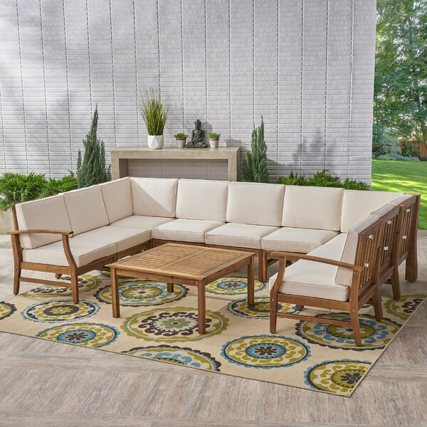 Rodden 10 Piece Sectional Set with Cushions by Bungalow Rose