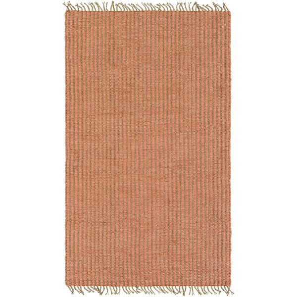 Ivyland Hand-Woven Coral/Khaki Area Rug by Gracie Oaks