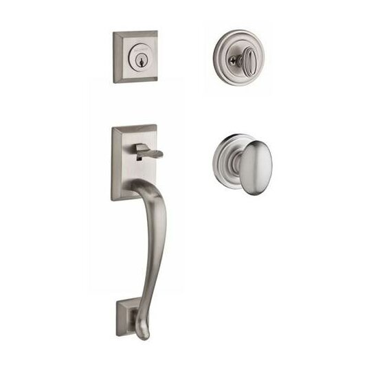 Napa Single Cylinder Handleset with Ellipse Door Knob and Traditional Round Rose by Baldwin