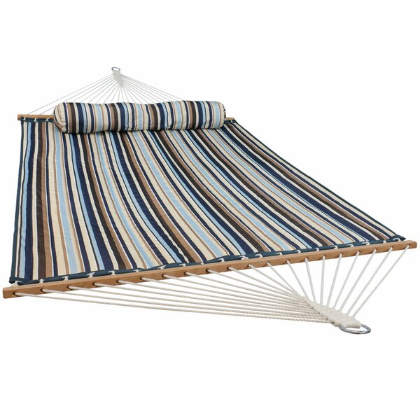 Hadrian Quilted Fabric Tree Double Spreader Bar Hammock by Millwood Pines Millwood Pines
