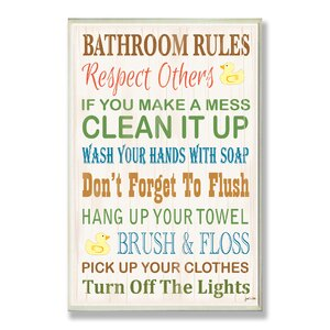 'Bathroom Rules Rubber Ducky' Textual Art on Wood by Viv + Rae