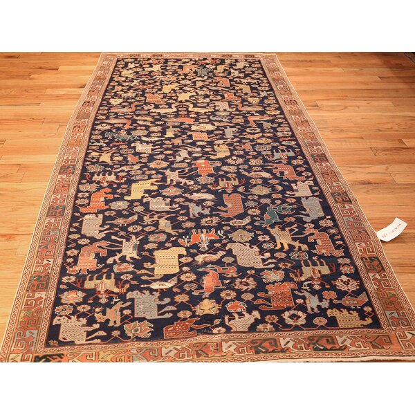 One-of-a-Kind 18th Century Hand-Knotted Before 1900 Orange 4'6 x 9' Wool Area Rug