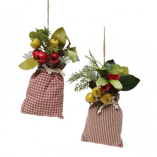 Bag of Fruit Leaves Striped/Plaid Hanging 2 Piece Figurine Set by The Holiday Aisle