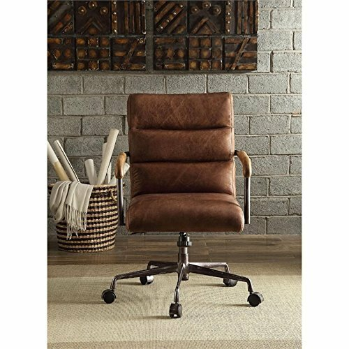 Dandor Swivel Executive Genuine Leather Office Chair by Red Barrel Studio
