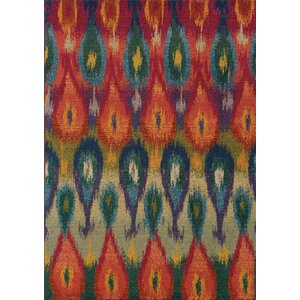 Terrell Red/Green Area Rug