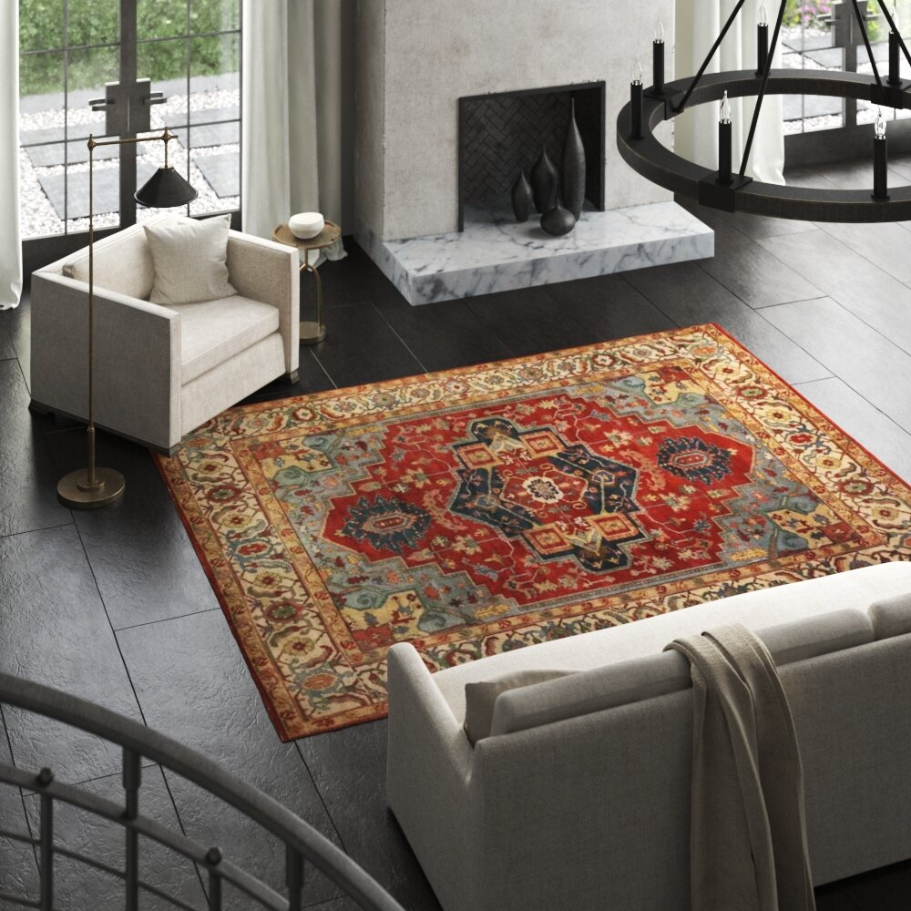 Exquisite Rugs Serapi Oriental Hand Knotted Wool Dark Red Area Rug Perigold