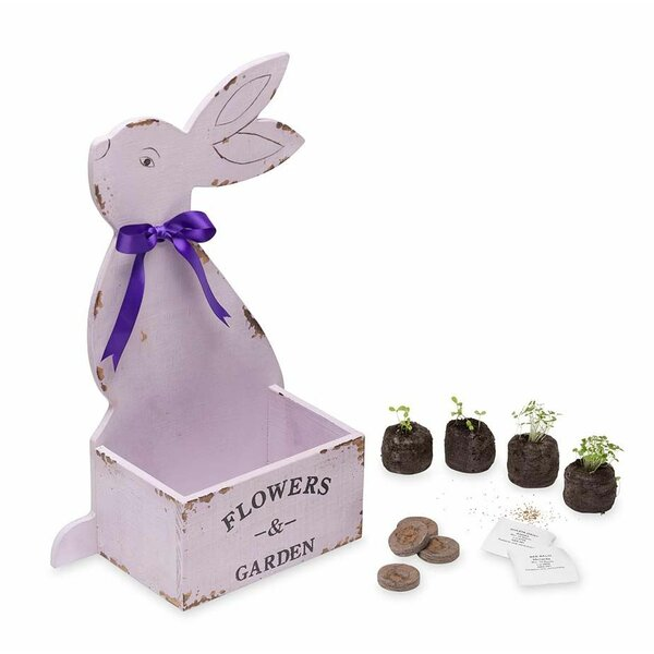 Bunny Alyssum Garden Easter Basket Wood Planter Box by Magic Cabin