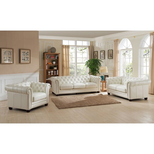 Nashville 3 Piece Leather Living Room Set by Amax