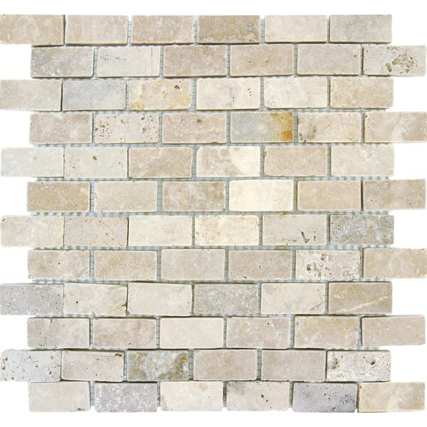 Noce/Chiaro Mini Brick 0.63 x 0.63 Natural Stone Mosaic Tile in Brown by MSI