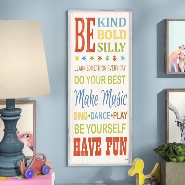 Stella Be Kind and Silly Typography Wall Plaque by Viv + Rae