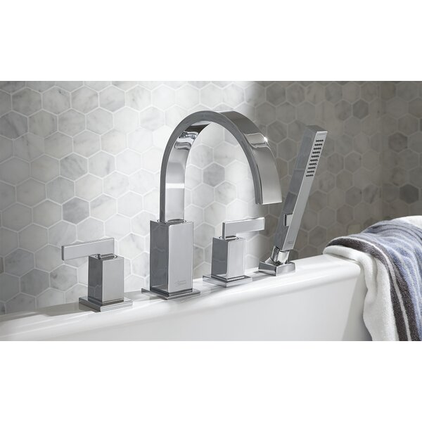 Times Square Double Handle Deck Mounted Roman Tub Faucet Trim with Diverter and Handshower by American Standard American Standard