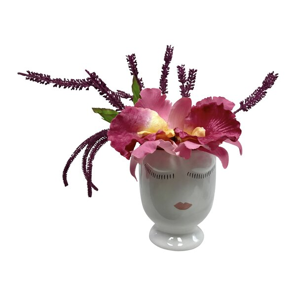 Celfie Amaranth and Orchids Floral Arrangements in Pot by Mercer41