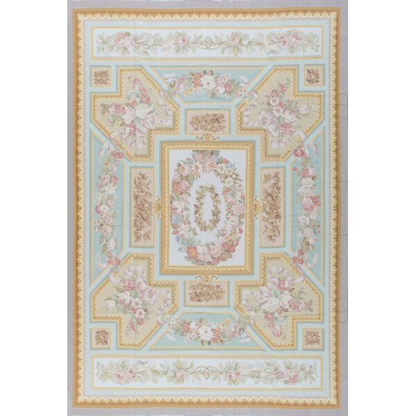 One-of-a-Kind Aubusson Hand-Knotted Blue/Ivory 11' x 16'3 Wool Area Rug