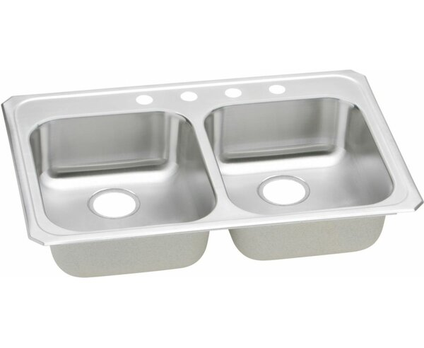 Celebrity 33 L x 21.25 W Self Rimming Double Bowl Kitchen Sink by Elkay
