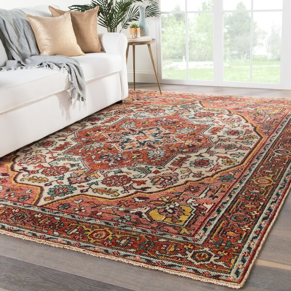 Al Hand-Knotted Wool Red/Beige Area Rug by Bloomsbury Market